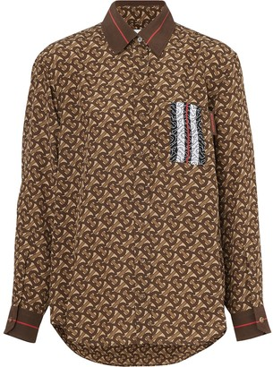 Burberry Monogram Stripe Print Silk Shirt