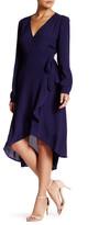 Astr Tie Waist Silk Blend Wrap Dress