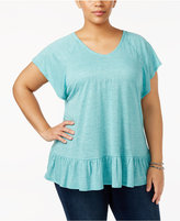 Style and Co Plus Size Flutter-Sleeve Peplum Top, Created for Macy's