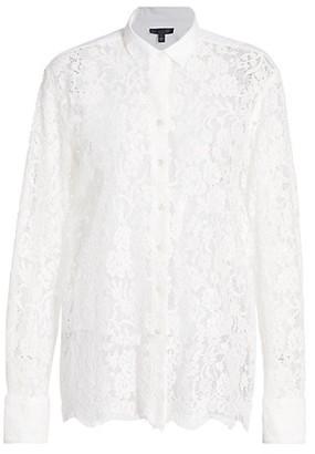 ATM Anthony Thomas Melillo Floral Lace Sheer Panel Shirt