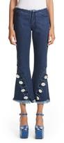Marques Almeida Women's Marques'Almeida Button Trim Crop Flare Jeans