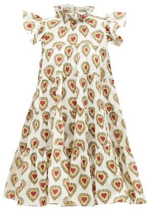 Rhode Resort Tiffany Ruffled Heart-print Dress - White Print