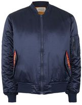 Topman FINDS Navy Embroidered Flame Bomber Jacket