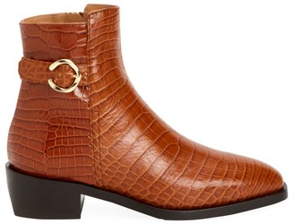 Aquatalia Fara Croc-Embossed Leather Ankle Boots