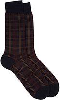 Barneys New York Men's Greenwich Checked Mid-Calf Socks-Navy
