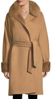 Max Mara Fur-Trim Camel Hair Wrap Coat