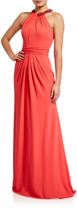 Theia Beaded Collar Crepe Halter Gown
