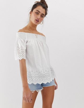 Only broderie anglais off shoulder top