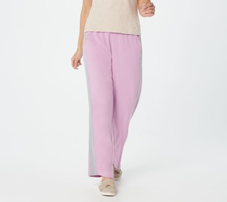 Cuddl Duds Stretch Woven Lounge Pants With Tuxedo Stripe Detail