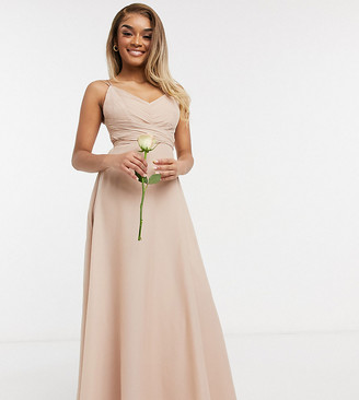 ASOS DESIGN Petite Bridesmaid cami maxi dress with ruched bodice and tie waist in blush