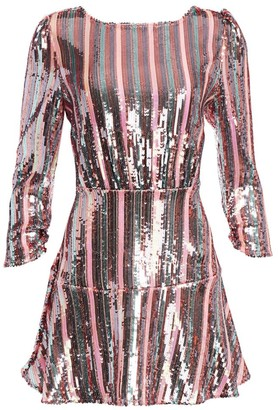 Rixo Kyla Sequin Stripe Mini Dress