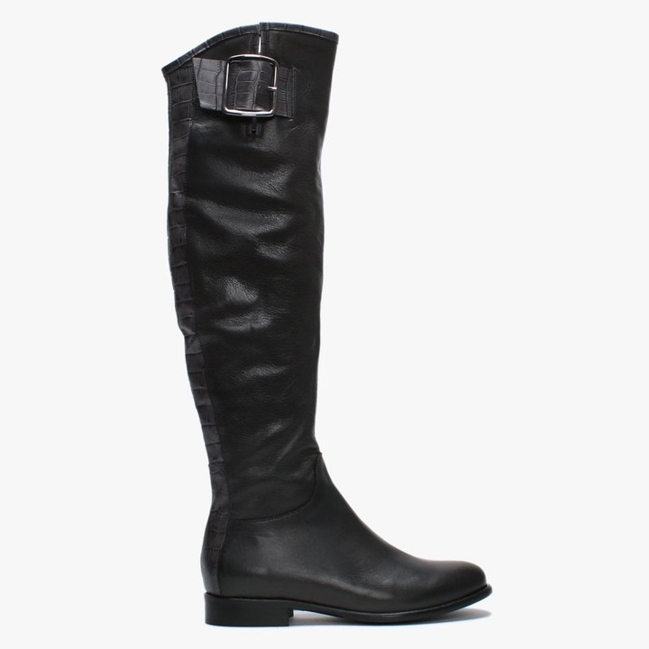Daniel Laureno Grey Leather Moc Croc Over The Knee Boots