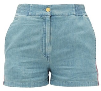 Gucci High-rise Side-stripe Chambray Shorts - Womens - Blue