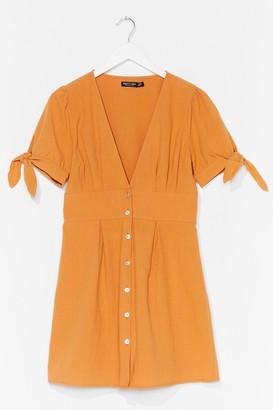 Nasty Gal Womens Are You Still Button-Down Tie Mini Dress - Orange - 4, Orange