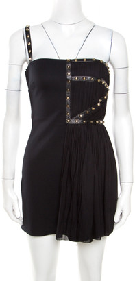 Versace Black Jersey Plisse Overlay Studded One Shoulder Mini Dress S