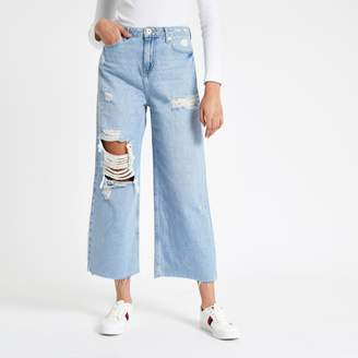 River Island Womens Blue Alexa wide leg cropped ripped jeans