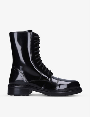 Ann Demeulemeester Beatrice lace-up patent leather ankle boots
