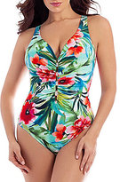 Miraclesuit Belle Rives Charmer V-Neck Tropical Print One-Piece