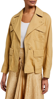 Vince Belted Drapey Linen Jacket