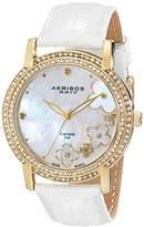 Akribos XXIV Women's AK580YG Lady Diamond Swiss Quartz Diamond Dial Leather Strap Watch