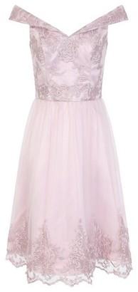 Dorothy Perkins Womens Chi Chi London Pink Embroidered Bardot Midi Dress, Pink