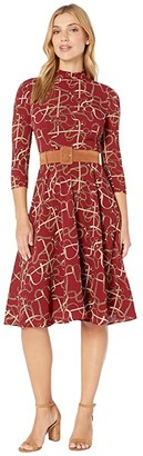 Donna Morgan Status Print 3/4 Sleeve Lightweight Stretch Crepe Mock Neck Belted Dress (Merlot) Women's Dress