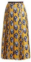 Gucci GG Wallpaper-print pleated silk midi skirt