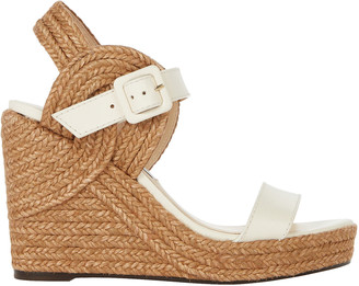 Jimmy Choo Delphi 100 Leather Espadrille Wedges