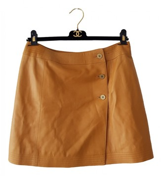 Chanel Orange Leather Skirt for Women Vintage