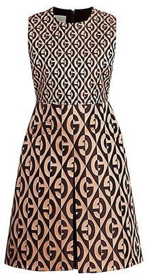 Gucci Jacquard Stretch Wool & Silk Logo Sleeveless A-Line Dress