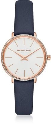 Michael Kors Mini Pyper Rose Gold Tone Blue Leather Watch