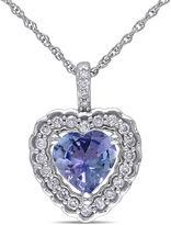JCPenney FINE JEWELRY Genuine Tanzanite and Diamond Heart Pendant