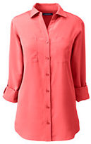 Classic Women's Petite Rolled Sleeve Soft Blouse-Clear Coral