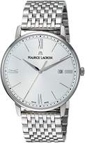 Maurice Lacroix Men's 'Eliros' Swiss Quartz Stainless Steel Casual Watch, Color:Silver-Toned (Model: EL1118-SS002-110-2)