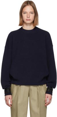 Alexander Wang Navy Crystal Cuff Sweater