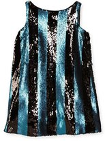 Milly Minis Sleeveless Sequin Stripe Shift Dress, Blue, Size 8-14