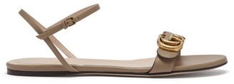 Gucci GG Marmont Leather Sandals - Womens - Beige