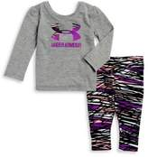 Under Armour Baby Girl's Two-Piece Rush Big Logo Tee and Pants Set