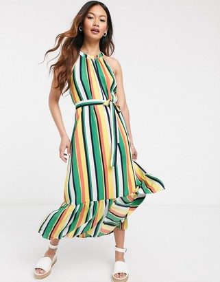 Gilli midi dress with drop hem and tie waist in bold stripe