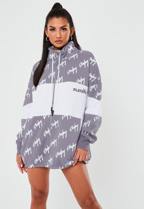 Missguided Playboy X Grey Colourblock Zip Through Sweatshirt