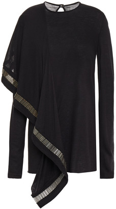 Rick Owens Lilies Chainmail-trimmed Draped Knitted Top
