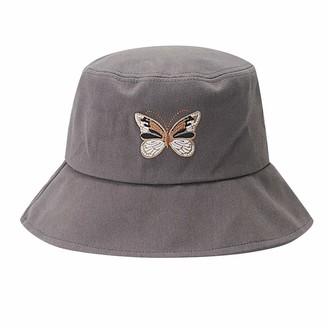 CUTUDU Women Butterfly Embroidery Foldable Anti-Sunburn Bucket Sun Cap Ladies Multicolor Fisherman Hat (A-Gray 56-58cm)