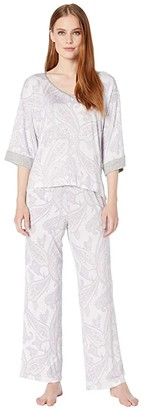Lauren Ralph Lauren Rayon Spandex Knit 3/4 Sleeve V-Neck Ankle Pants PJ Set (Grey Heather Pink) Women's Pajama Sets