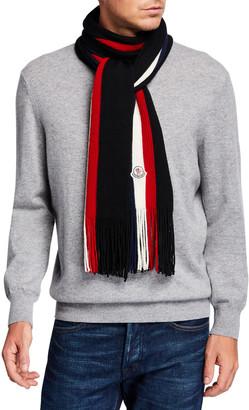 Moncler Men's Tricolor Logo-Patch Wool Scarf
