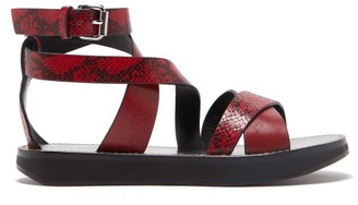 Isabel Marant Nasha Python-embossed Leather Sandals - Womens - Red
