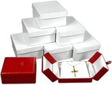 FindingKing 6 Leather Pendant Earring Gift Box Red Snap Lid Display