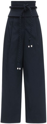 Tory Burch Taffeta Wide Leg Pants W/ Obi Belt