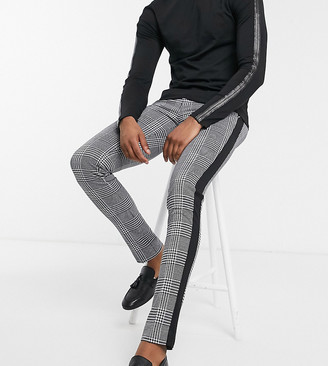 Devils Advocate Tall skinny black and white check side stripe trousers