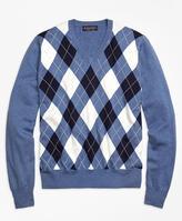 Brooks Brothers Supima® Cotton Argyle V-Neck Sweater