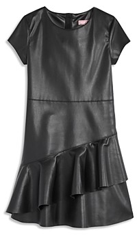 BCBG Girls Girls' Faux Leather Ruffle Dress - Big Kid